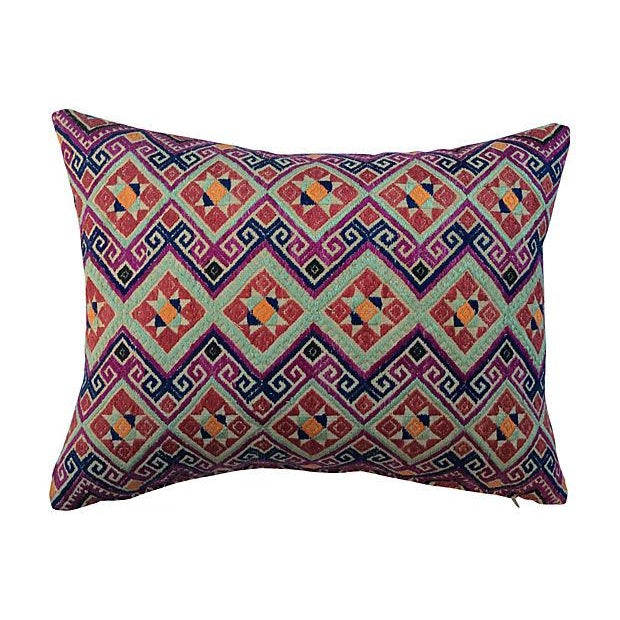 Chinese Wedding Quilt Textile Pillow - Image 1 of 5