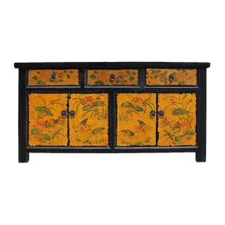 Chinese Distressed Yellow Floral Sideboard