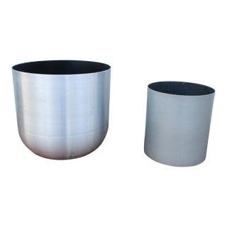 Paul Mayen Mid-Century Modern Aluminum Planter Pots - A Pair