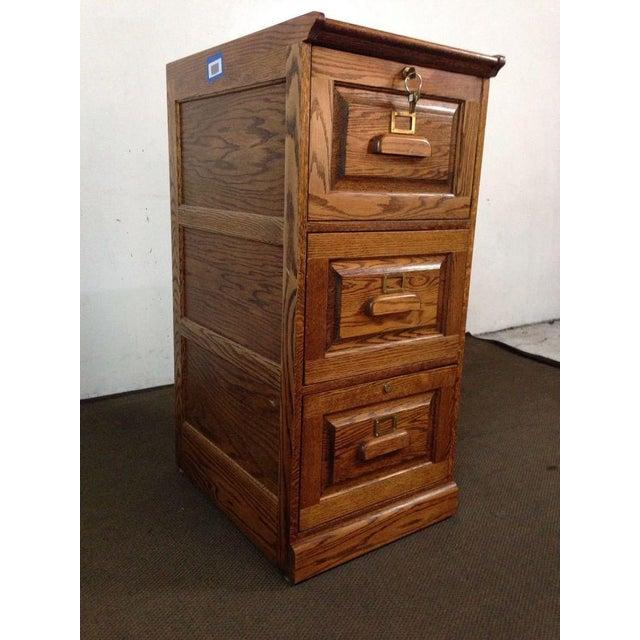 Image of Vintage Carved Oak 3 Drawer Filing Cabinet