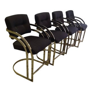 Milo Baughman Style Cantilevered Flat-Bar Brass Bar Stools - S/4