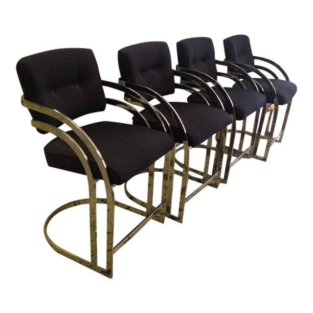 Image of Milo Baughman Style Cantilevered Flat-Bar Brass Bar Stools - S/4