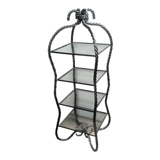 Hollywood Regency Glass & Metal Etagere