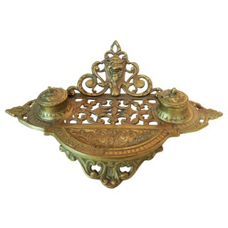 Cast Brass Ornate Ink Well