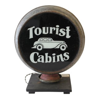 "1900s Double Sided Light Up Sign ""Tourist Cabins"""