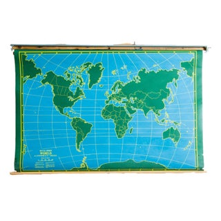 Vintage Chalkboard World & USA Pull Down Map