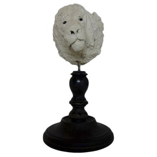 19th Century Plaster Lion Head Sculpture on Wood Stand