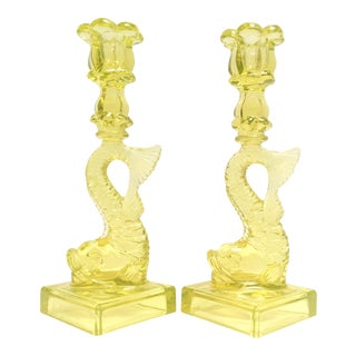 Vintage Chinese Canary Yellow Dolphin Candle Holders - a Pair