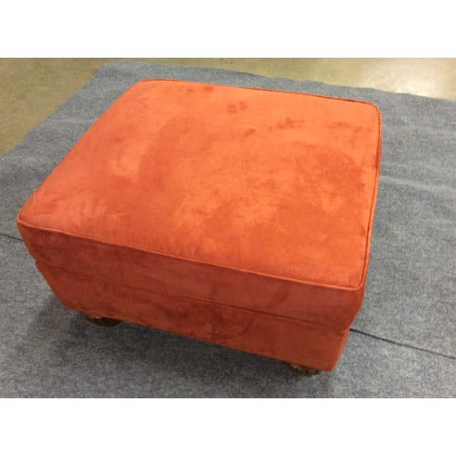 Orange Microfiber Ottoman Chairish