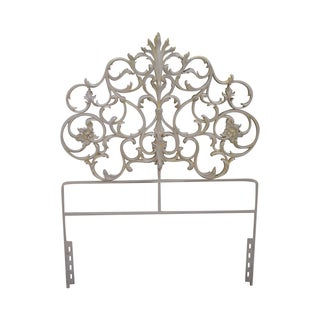 Vintage Painted Metal Rococo Single Headboard