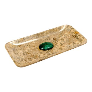 Fossilized Coral Tray With Malachite