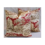 Image of Custom French Woodland Deer Toile Pillows - Pair
