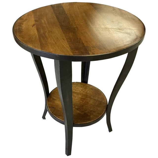 Round Accent Side End Table With Shelf Pedestal Stand Wood for Sofa Living Room - Image 3 of 3