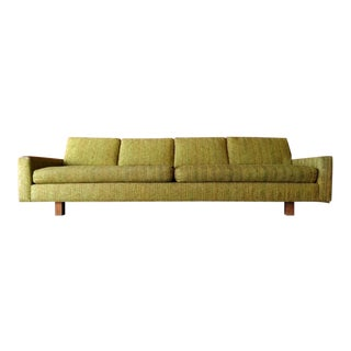 Vintage Mid Century Solid Walnut Arm Sofa