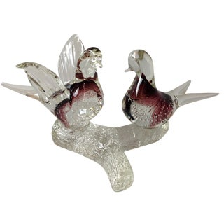 Alfredo Barbini Murano Glass Dove Sculpture