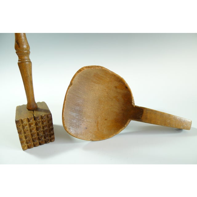 Antique Primitive Amish Wood Butter Paddle & Masher - A Pair - Image 6 of 6