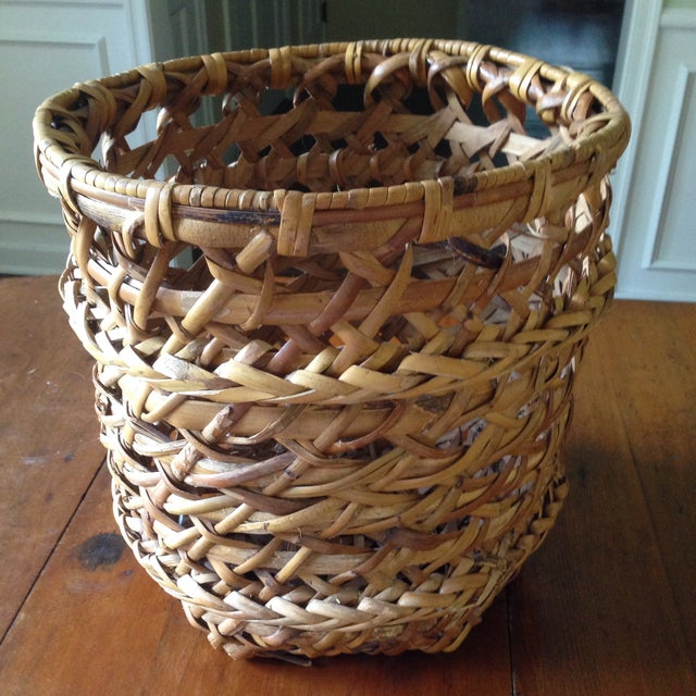 Large Vintage Rattan Planter Basket - Image 3 of 11