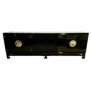 Asian Style Lacquered Credenza in Black