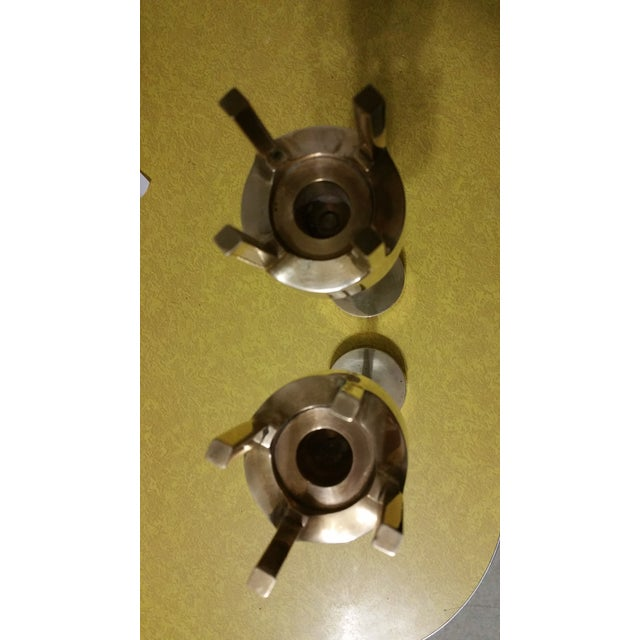 Mid-Century Modern Brass Candlestick Holders - A Pair - Image 4 of 7