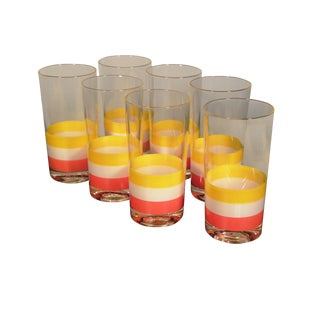 Georges Briard 1960s Striped Tumblers - Set of7