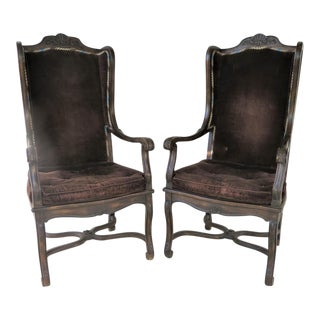 Country French Oak Wingback Chairs -A Pair