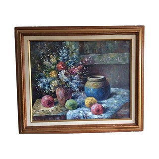 Flowers & Fruits Still Life Oil Painting