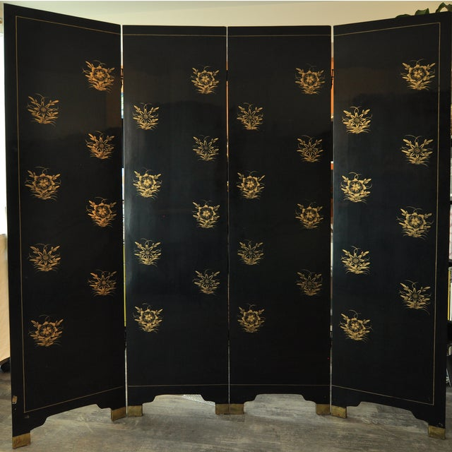 Vintage Chinese 4 Panel Lacquered Hardstone Screen - Image 8 of 10
