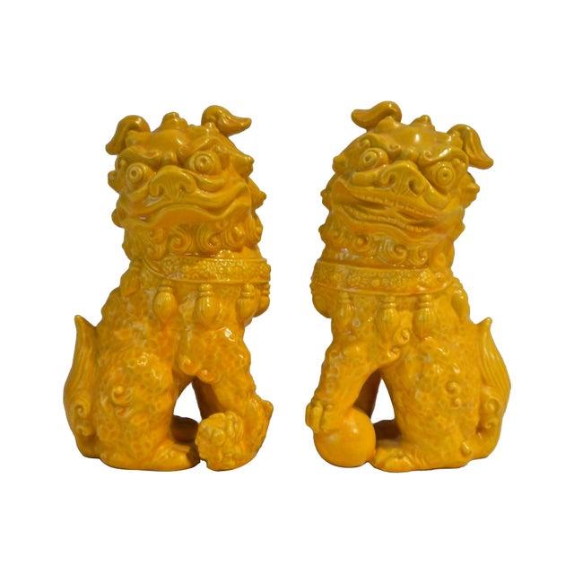Yellow Ceramic Foo Dog - Pair - Image 1 of 5
