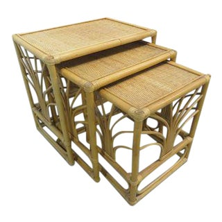 Vintage Bamboo Rattan Nesting Tables - Set of 3
