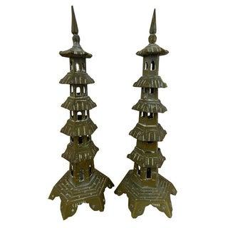 Vintage Brass Pagodas - A Pair