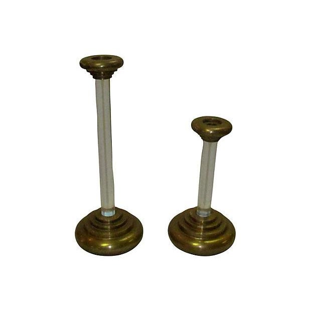 Image of Karl Springer Lucite Brass Candleholders - A Pair