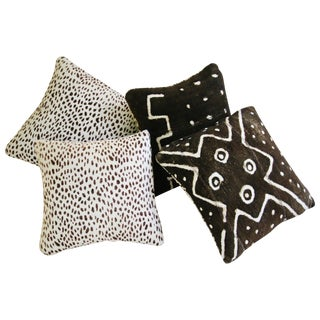 Cheetah Cowhide & Mud Cloth Pillows - Set of 4