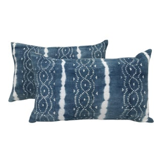 African Indigo Faded Tye-Dye Fringe Pillows - A Pair
