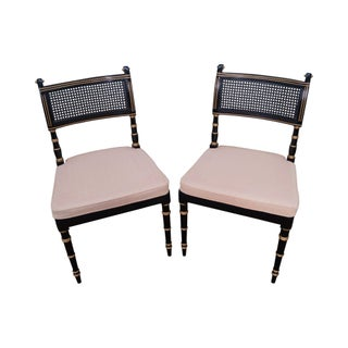 Black & Gold Regency Style Dining Chairs - A Pair