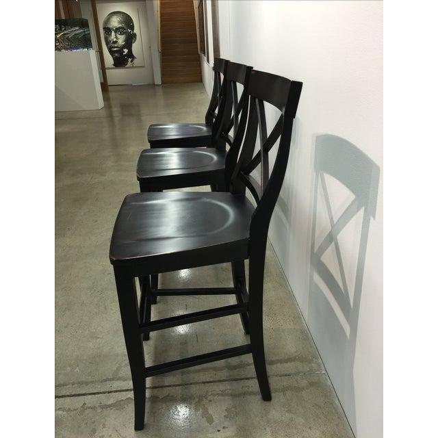 Image of Crate & Barrel Antiqued Black Bar Stools - Set/3