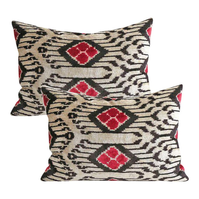 Silk Velvet Down Feather Accent Pillows - A Pair - Image 1 of 3