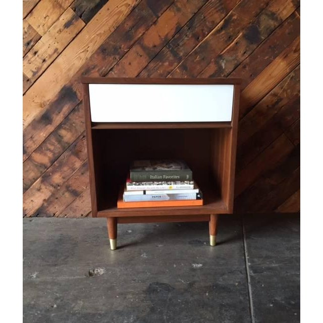 Mid-Century Walnut & White Lacquer Nightstand - Image 7 of 7