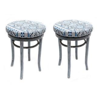 Biedermeier Cane Seat Stools - A Pair