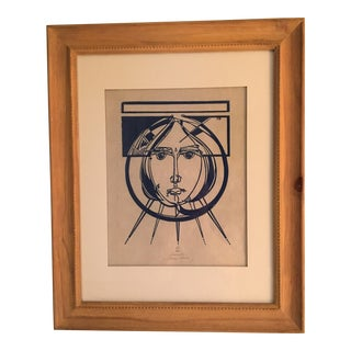 Framed Vintage Linocut Portrait by Audry Madoy