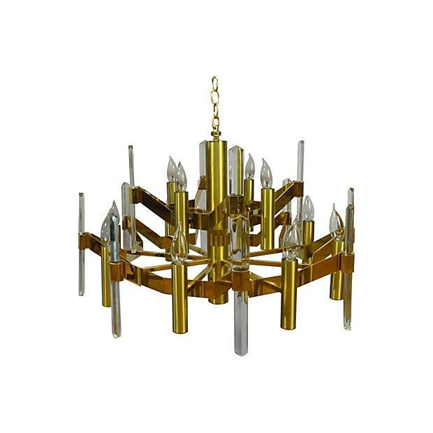 Sciolari Brass and Crystal Chandelier - Image 1 of 3