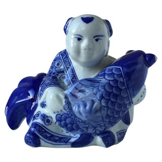 Blue and White Asian Ceramic Accent Decor