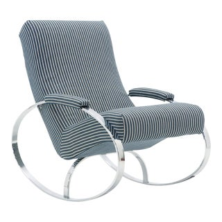 Milo Baughman Style Chrome Framed Rocker