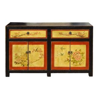 Oriental Flower Birds Graphic Double Doors Cabinet
