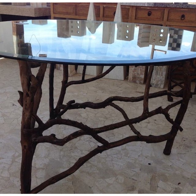 Rift Wood and Glass Round Dining Table - Image 5 of 5