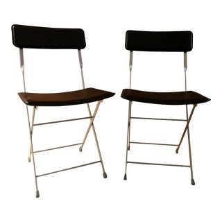 Lina Black Leather Folding Chairs - A Pair