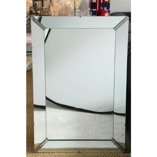 Beveled Rectangular Stepped Mirror with Chrome Accents - Image 3 of 6