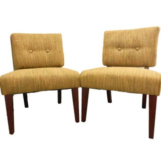 Tufted Slipper Chairs- A Pair