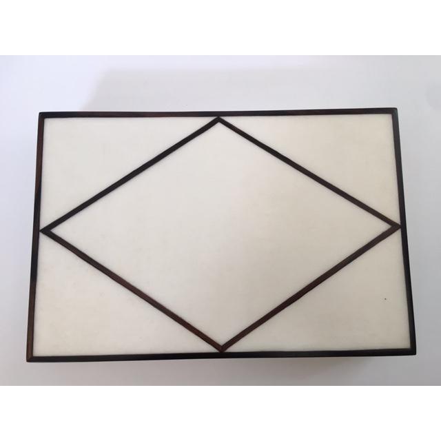 Contemporary Cream Parchment & Ebony Trim Box - Image 2 of 5