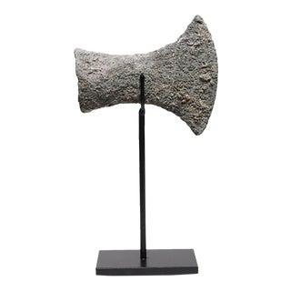 Circa 500 B.C. Bronze Socket Ax Head On Steel Stand