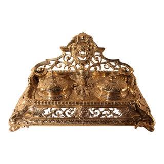 Antique Victorian Bronze Inkwell